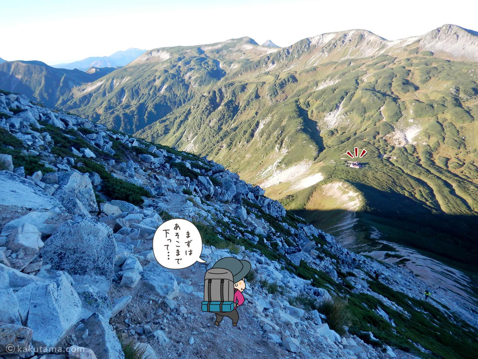 鷲羽岳からの急な下り道2