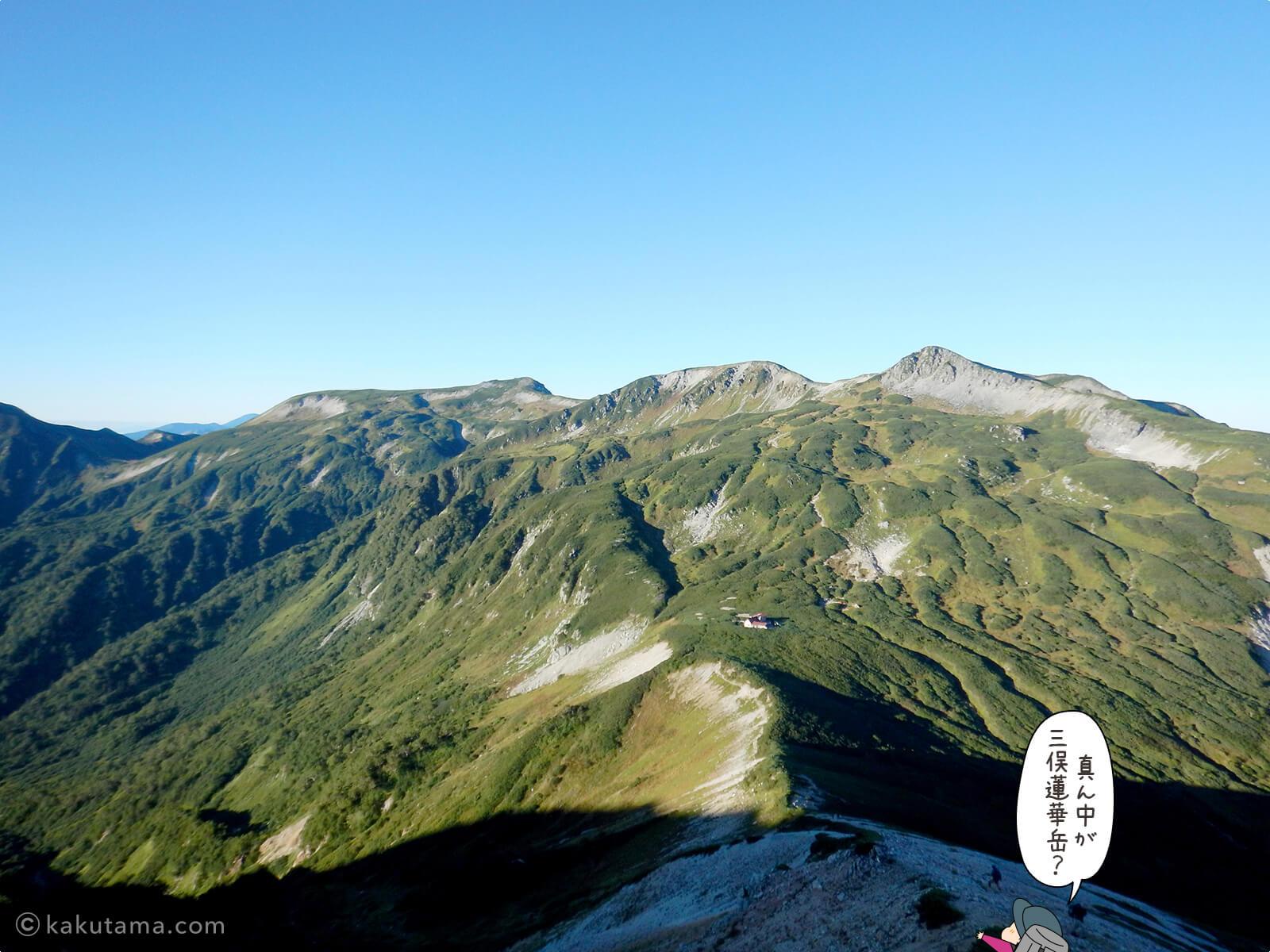 三俣蓮華岳が見える