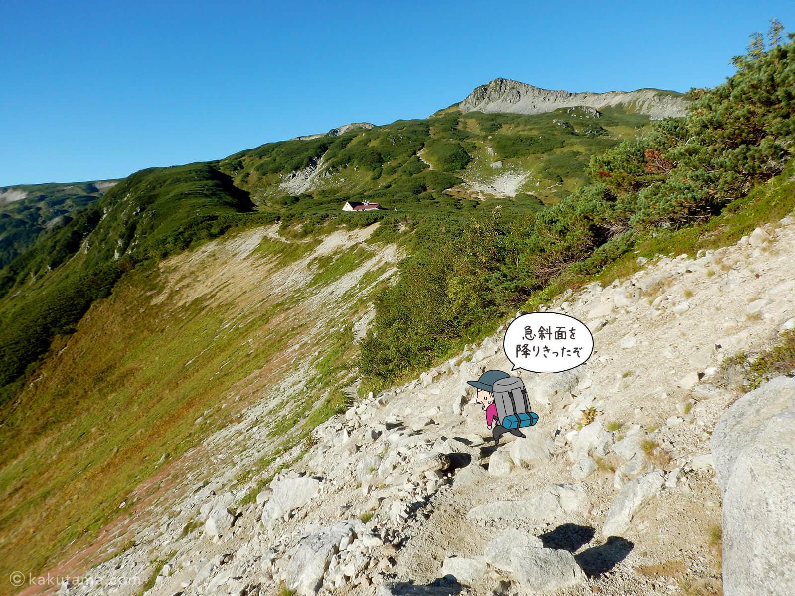 鷲羽岳の急な下りを降りきった
