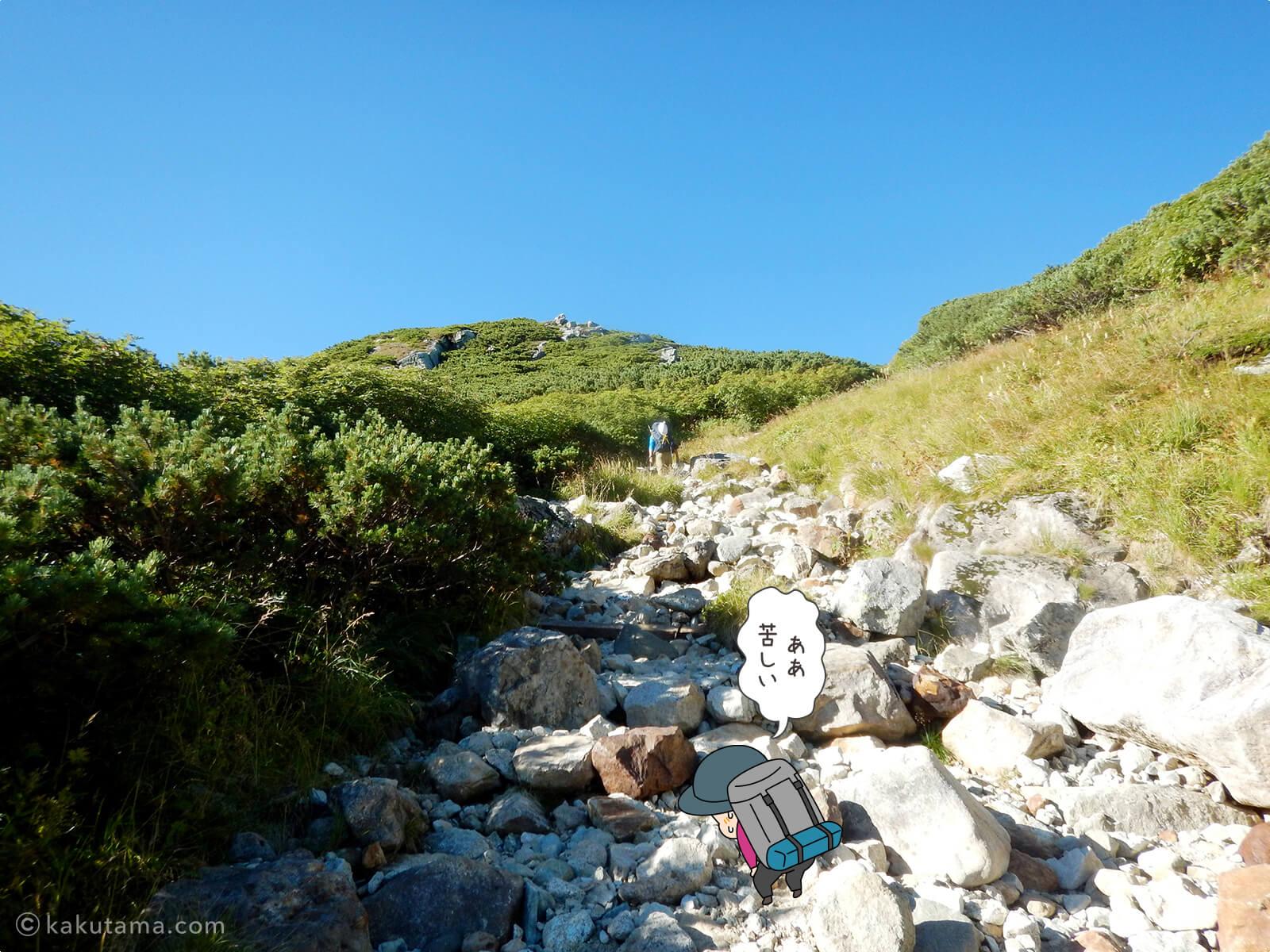 三俣山荘からの登り2