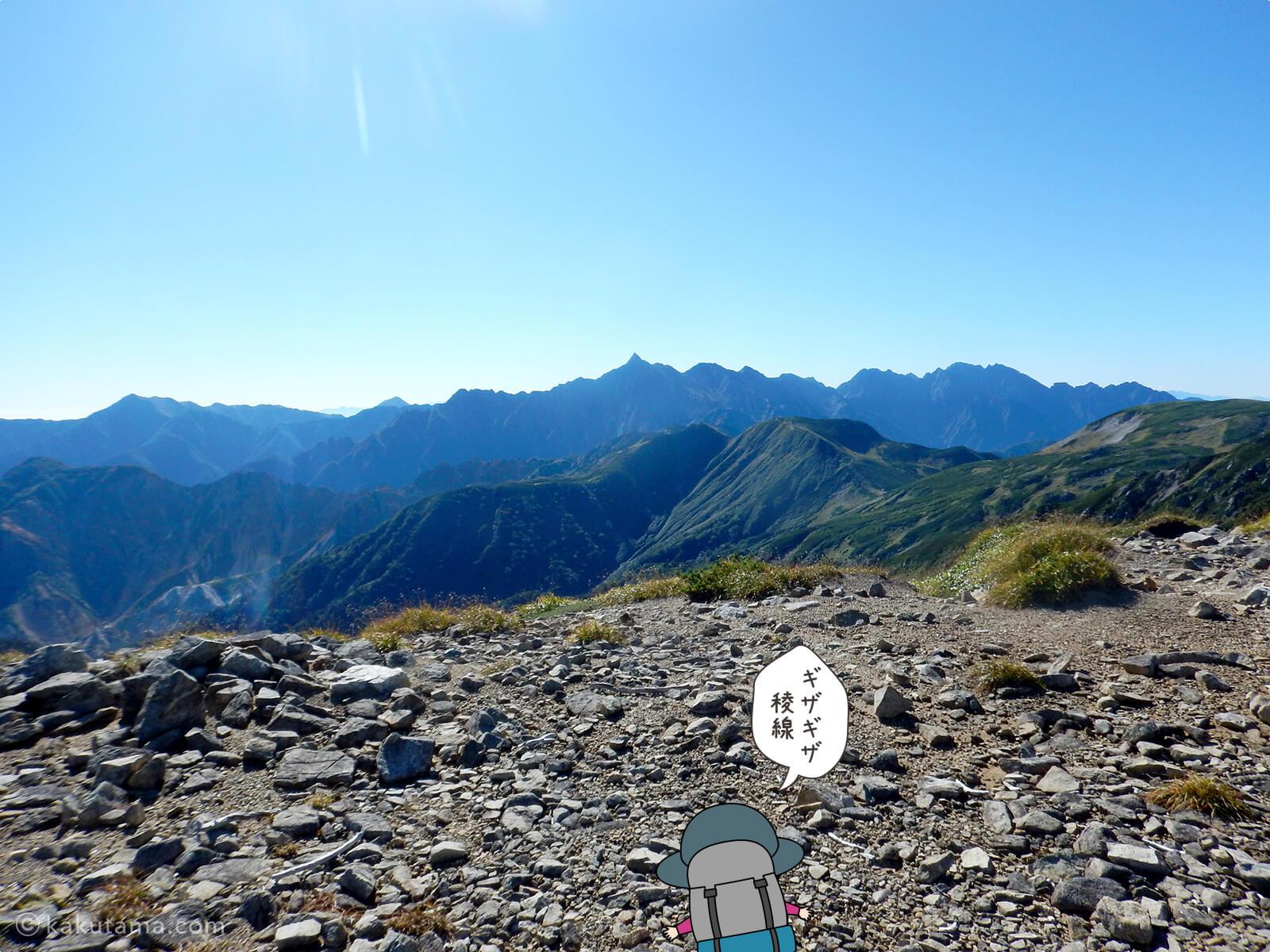 三俣蓮華岳から見た槍ヶ岳
