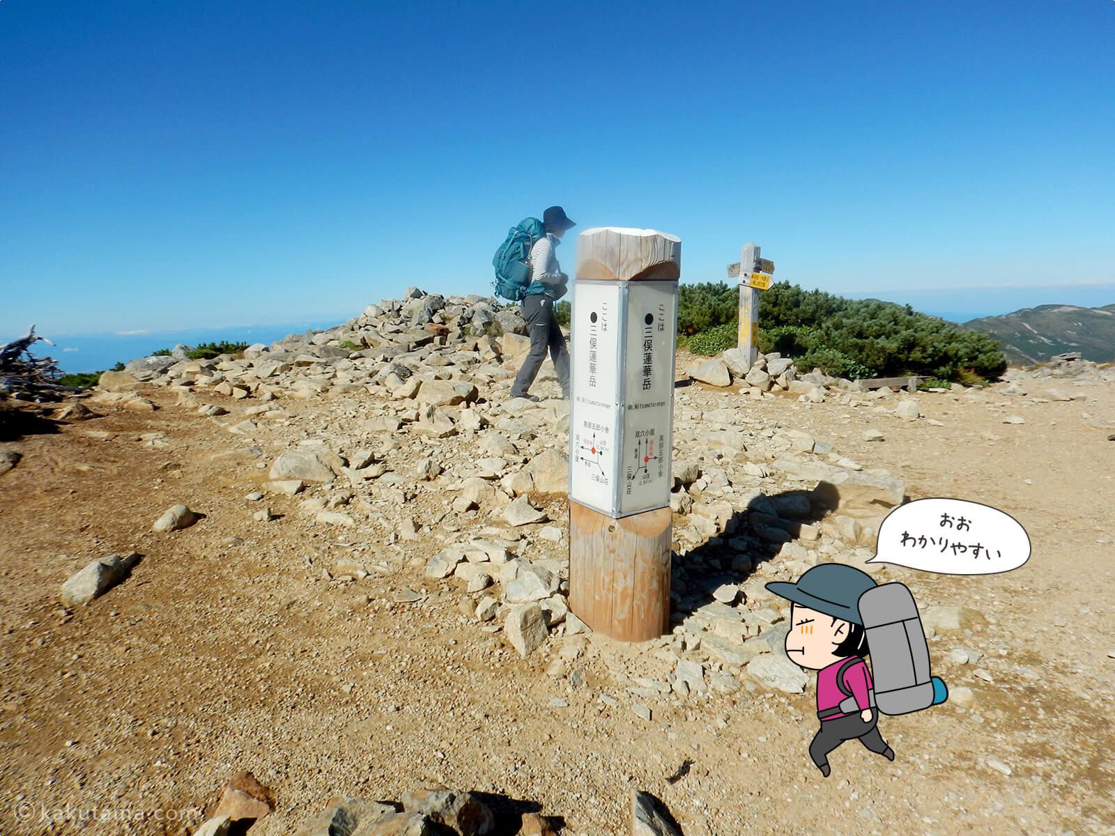 三俣蓮華岳の標識