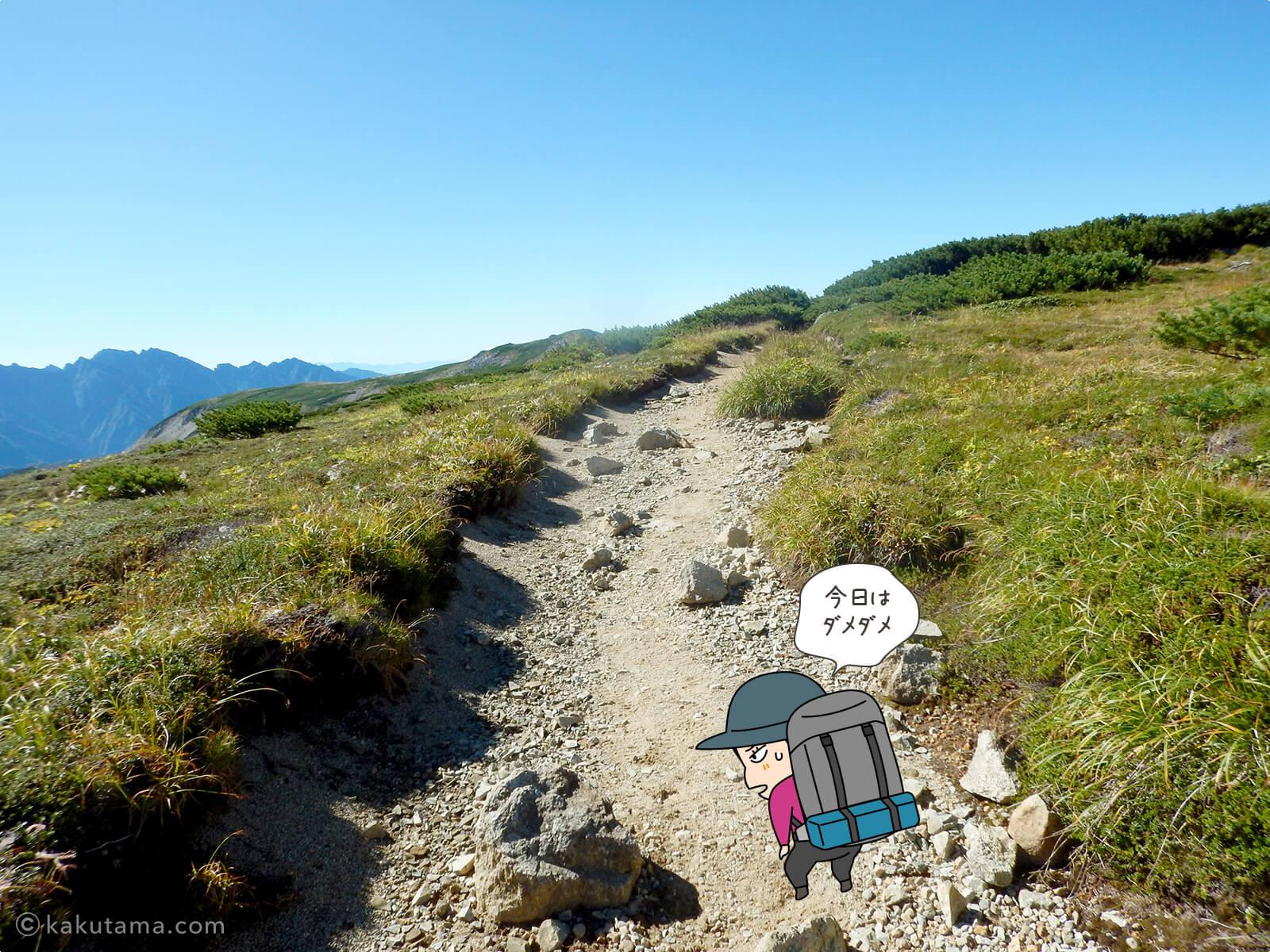 双六岳への稜線登り1