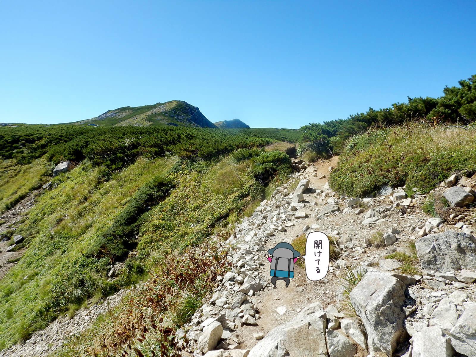 双六岳への稜線登り4