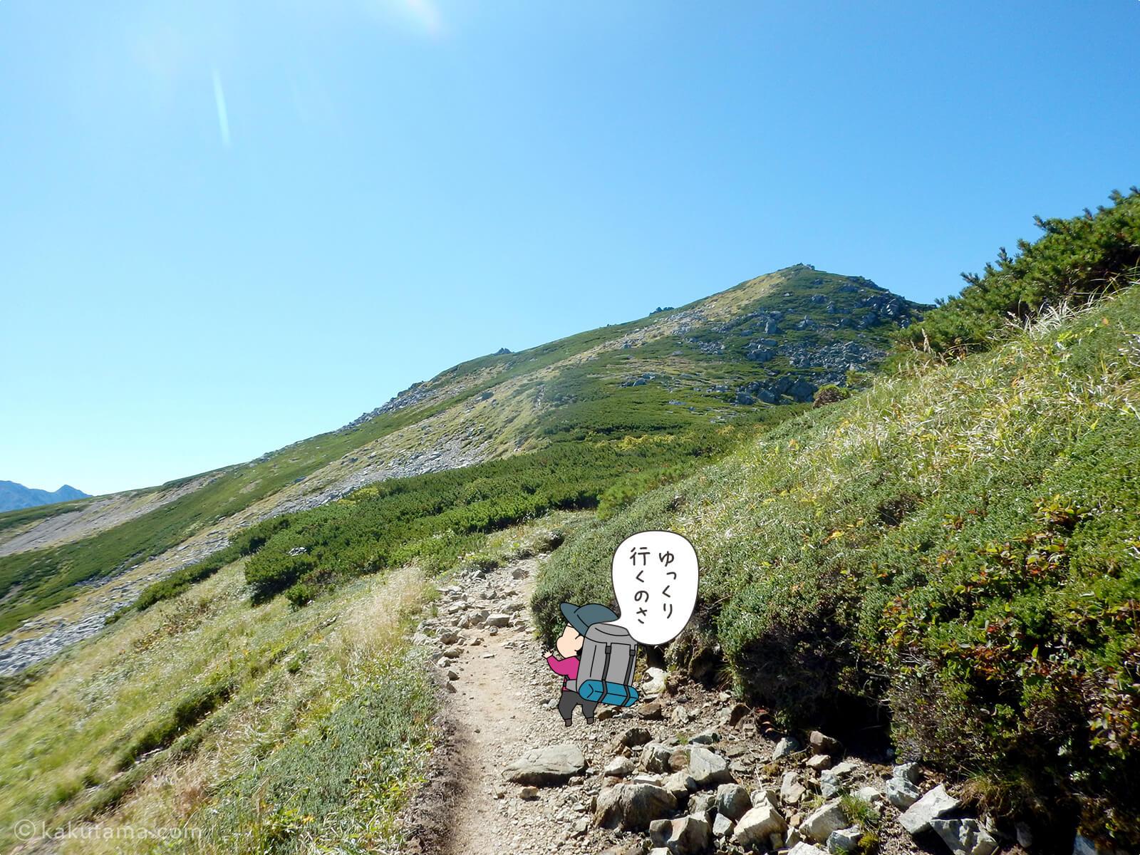 双六岳へ向かって登る1
