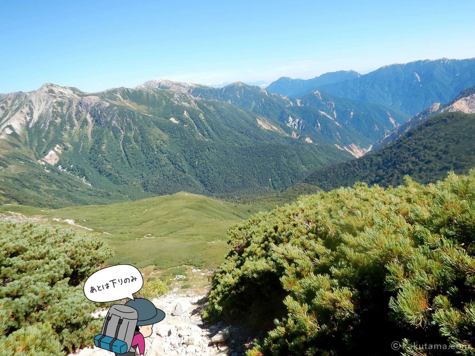 双六岳から下山1