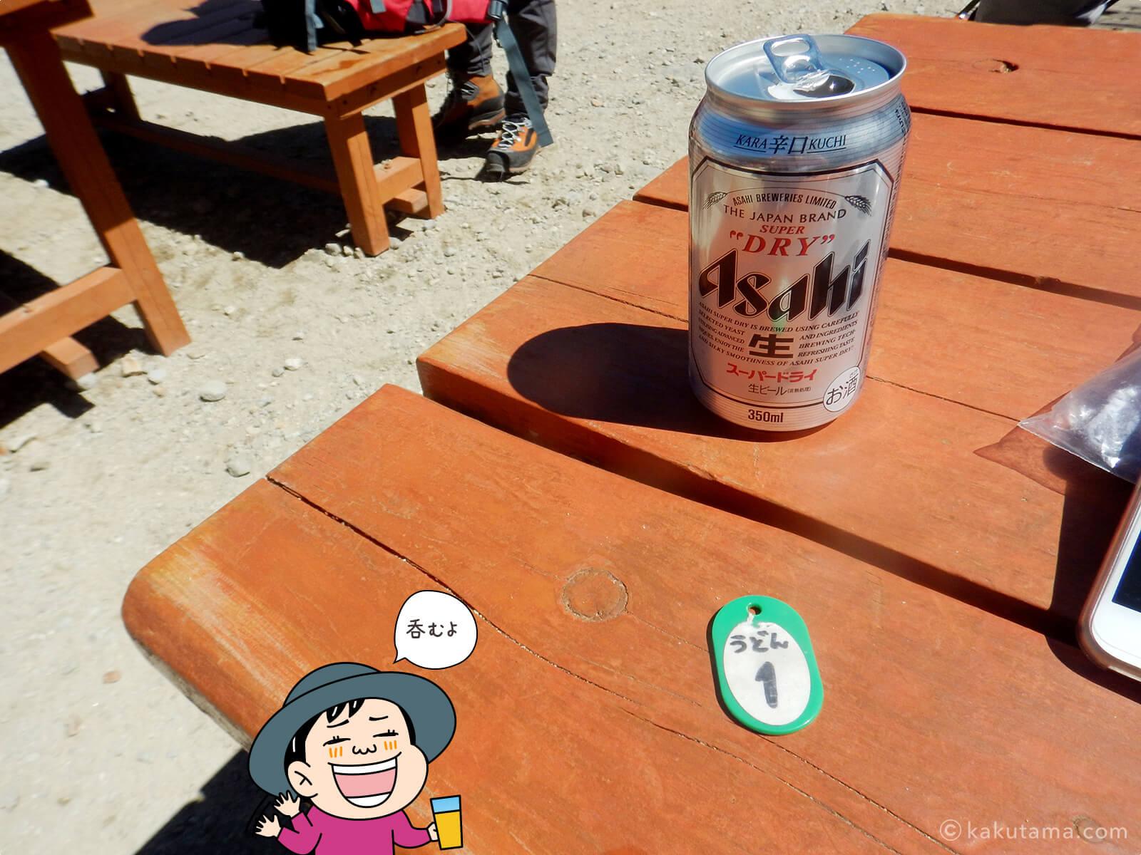 双六小屋でビール