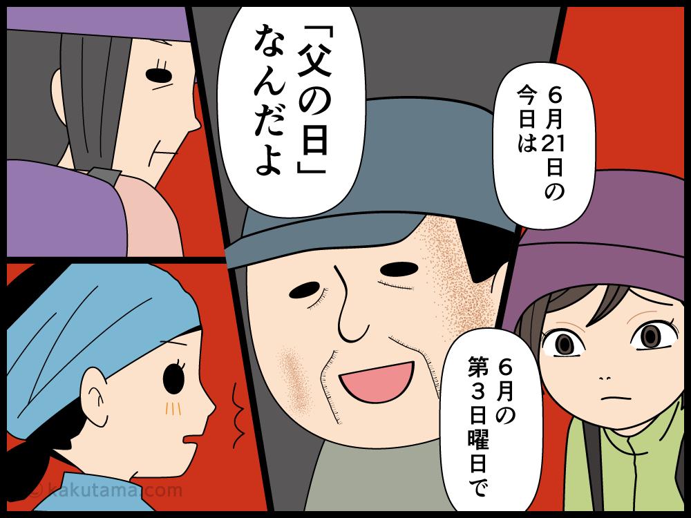 父の日だよと話した途端に家族に先に行かれてしまう登山者の父の漫画3
