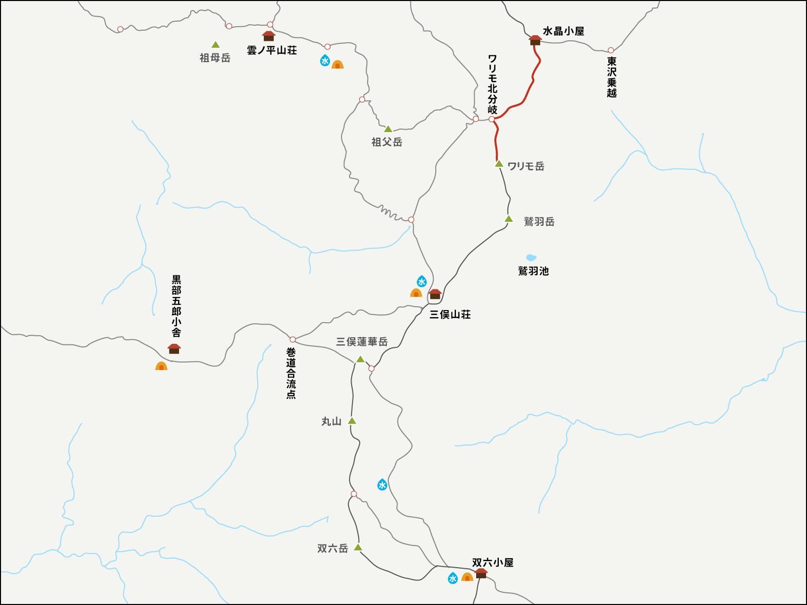 水晶小屋からワリモ岳までのイラストマップ
