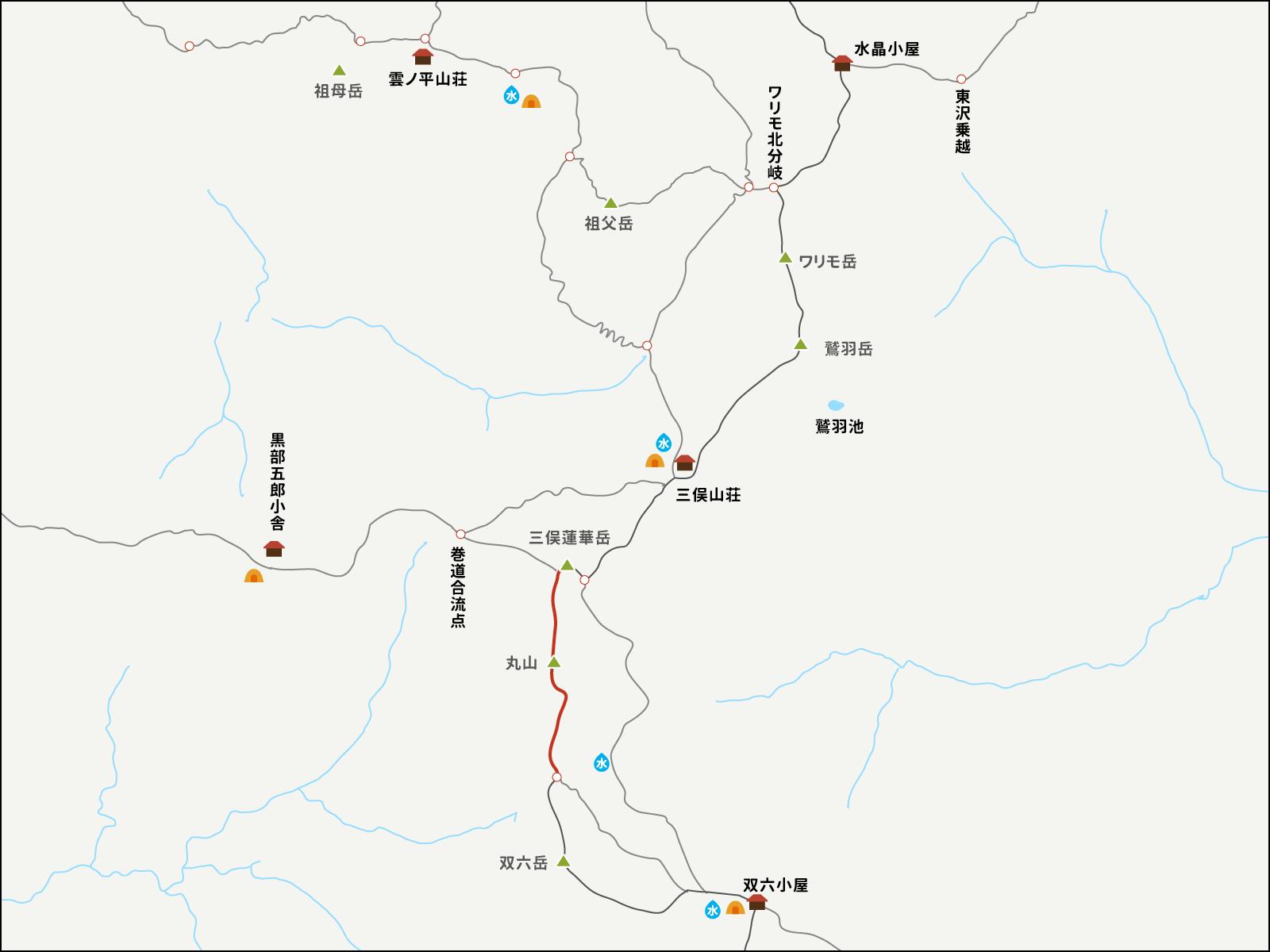 三俣蓮華岳から双六岳分岐点までのイラストマップ