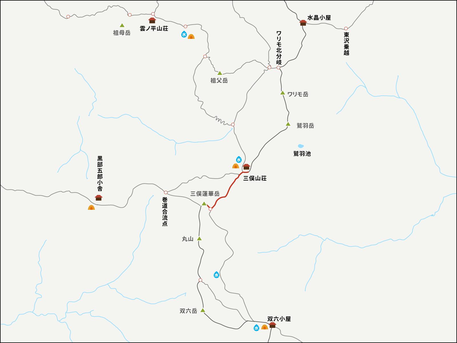 三俣山荘から三俣蓮華岳までのイラストマップ