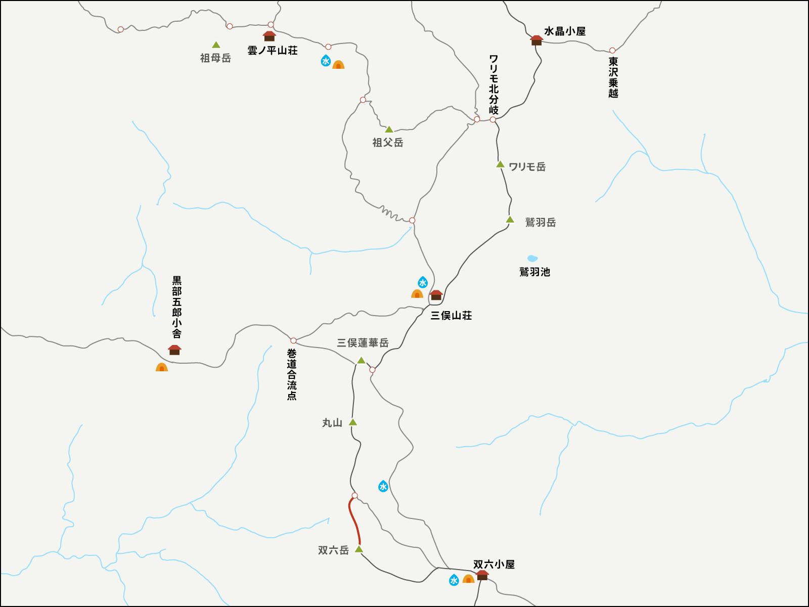 双六岳分岐点から双六岳までのイラストマップ