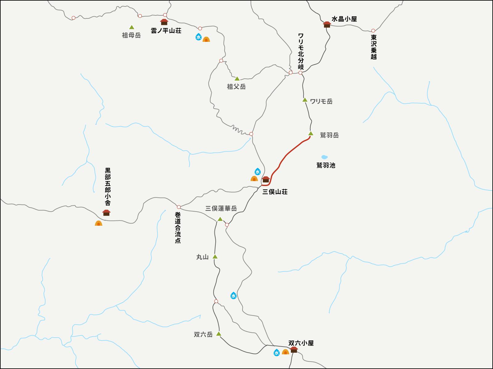 鷲羽岳から三俣山荘までのイラストマップ