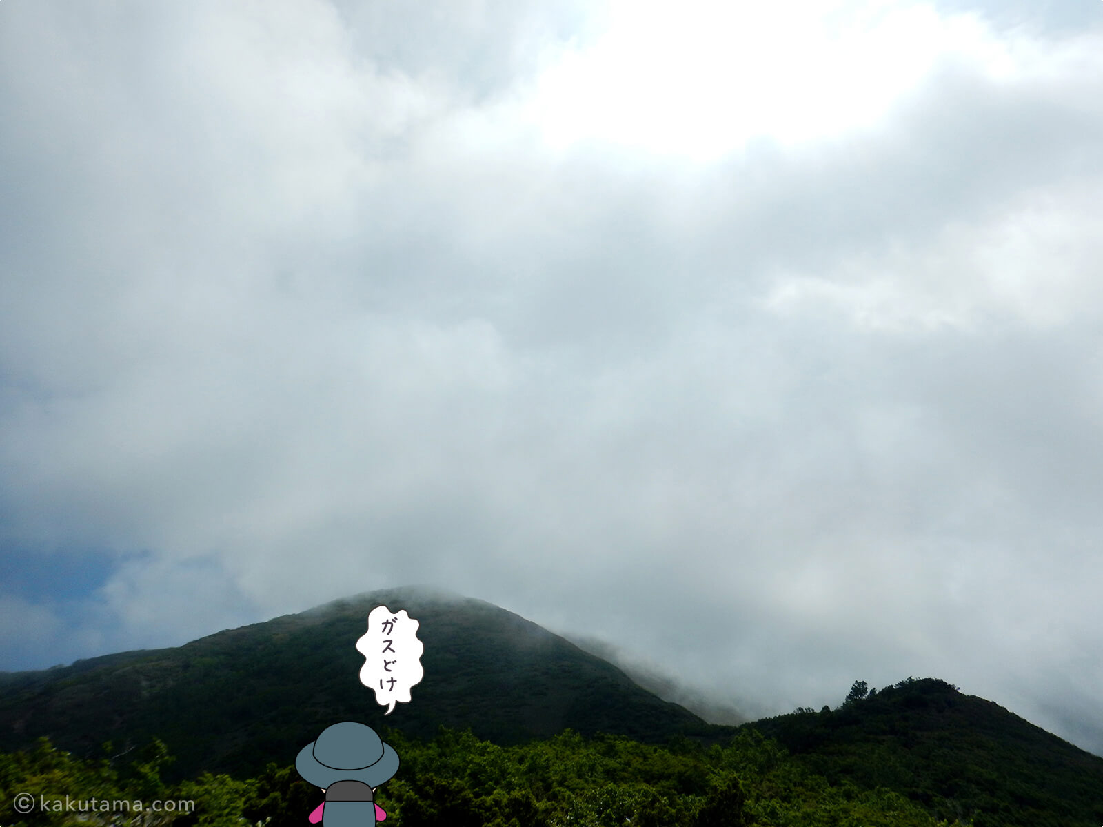 ガスに覆われている山頂付近