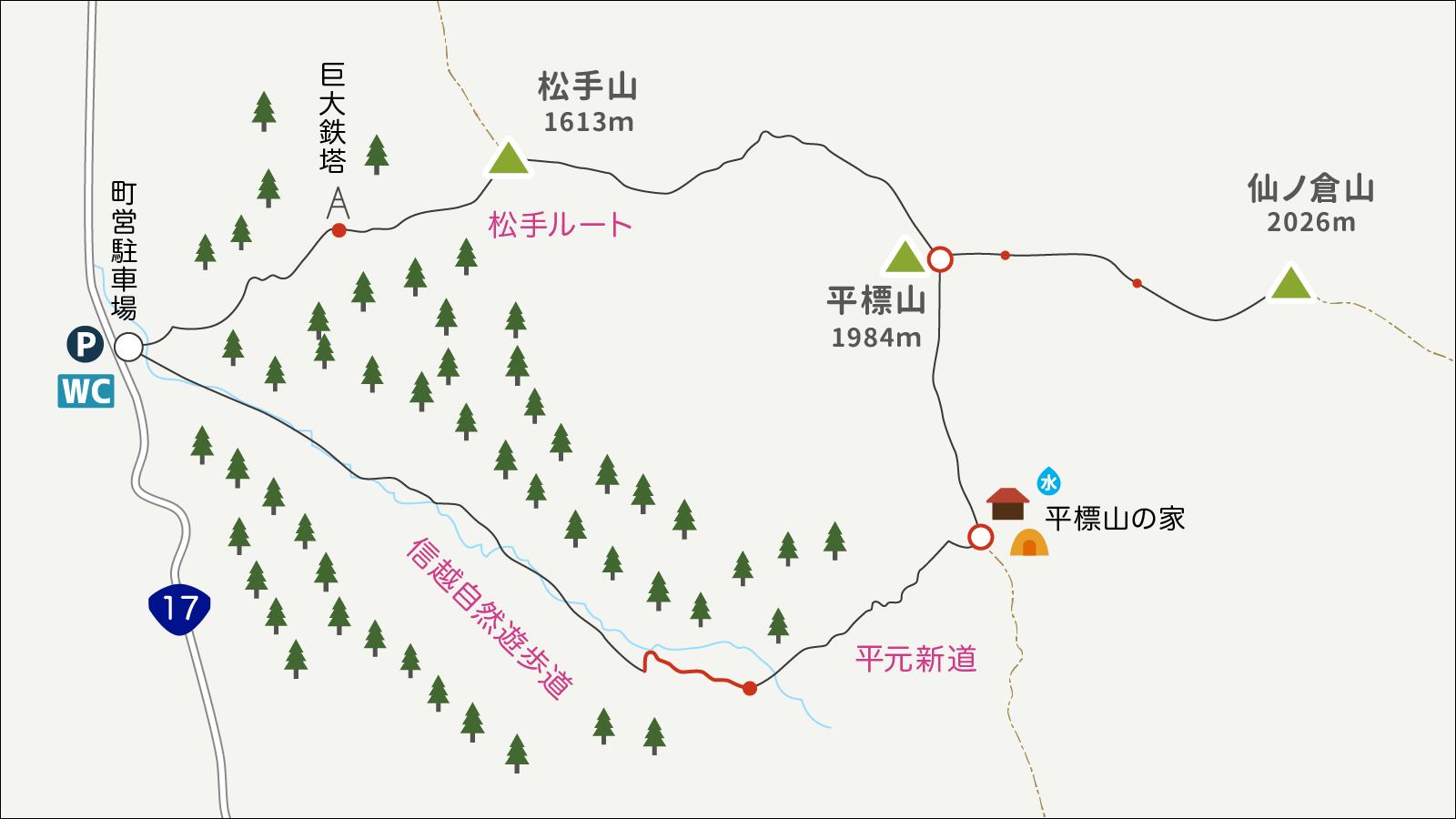平標山平元新道で下山イラストmap1
