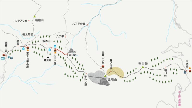 金峰山大日小屋から大日岩までのイラストマップ