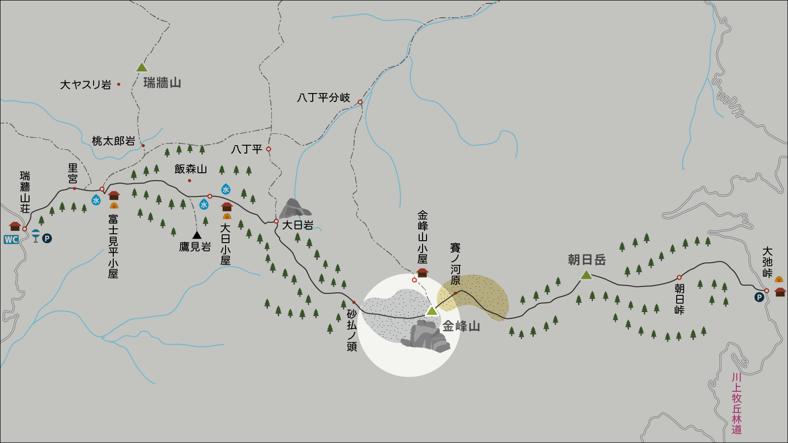 金峰山のイラストマップ