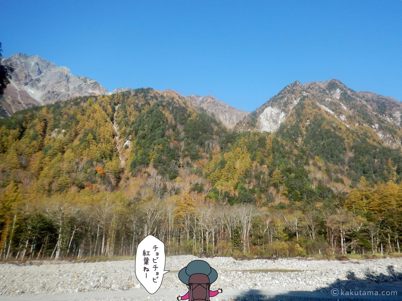 紅葉の終わった穂高連峰