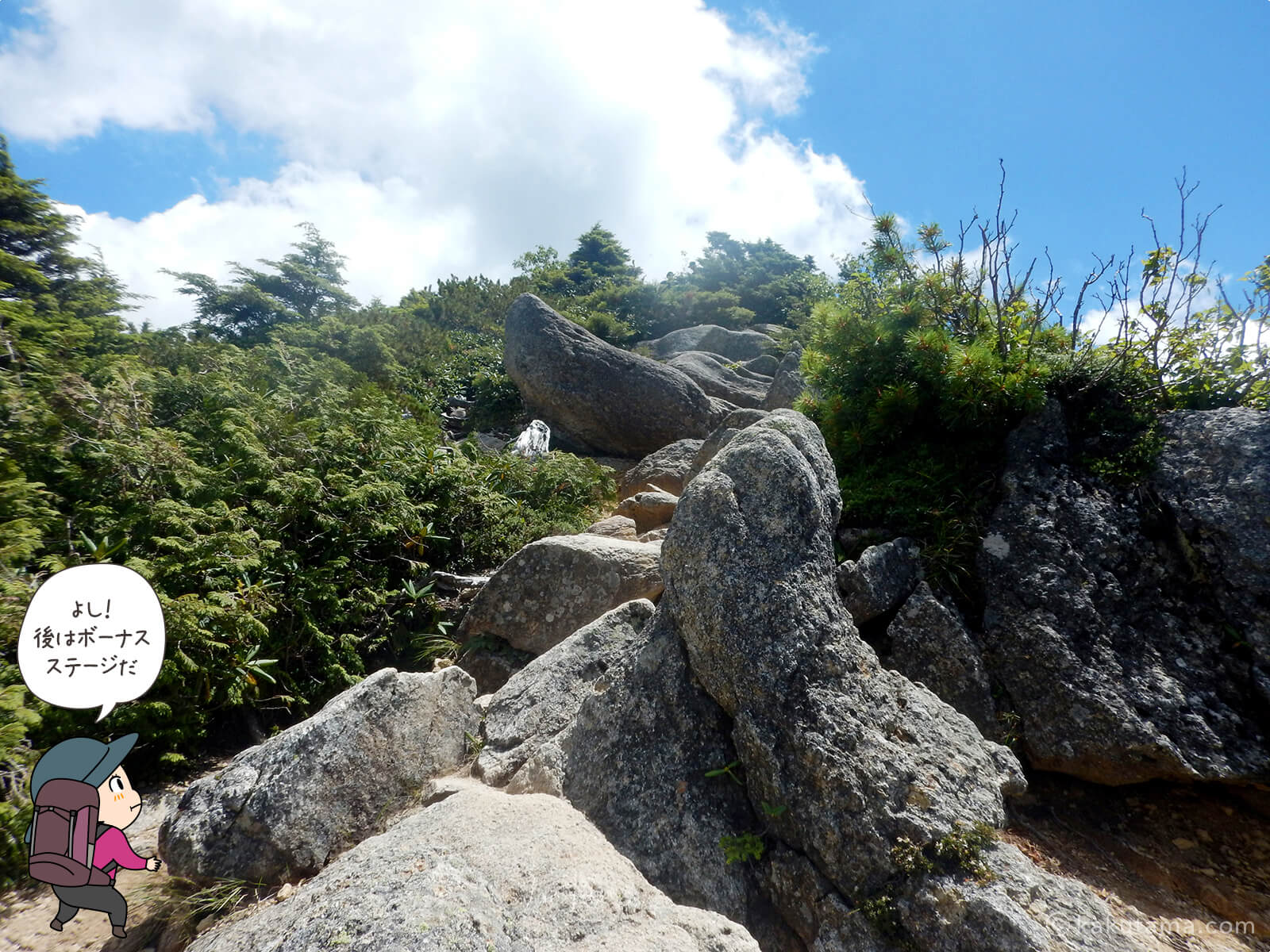 砂払ノ頭から金峰山へ向かってあるき出す1