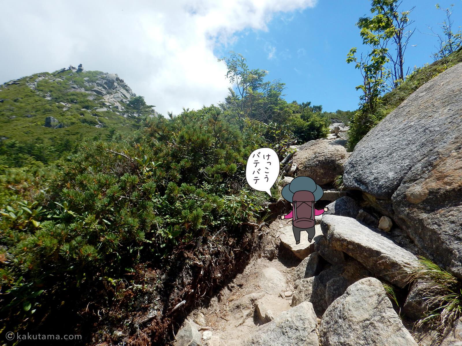 砂払ノ頭から金峰山へ向かってあるき出す6