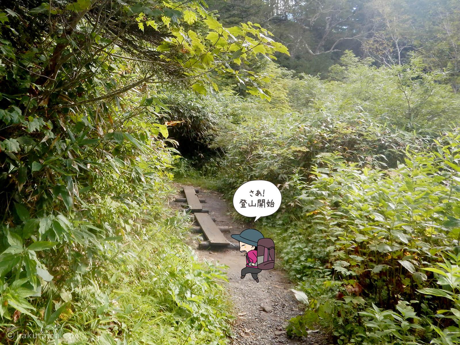 栂池自然公園から登山道へ入る1