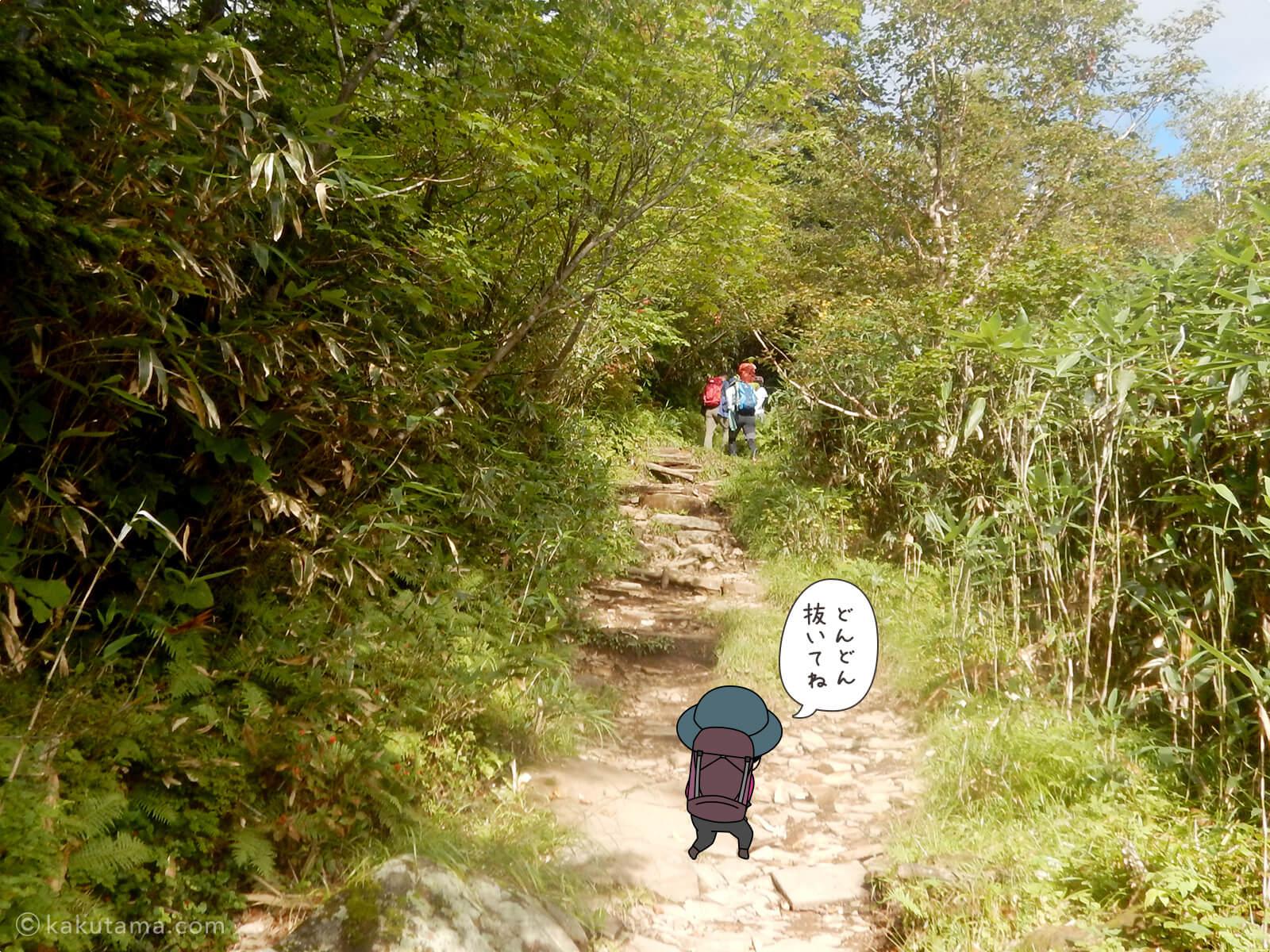 栂池自然公園から登山道の登り3