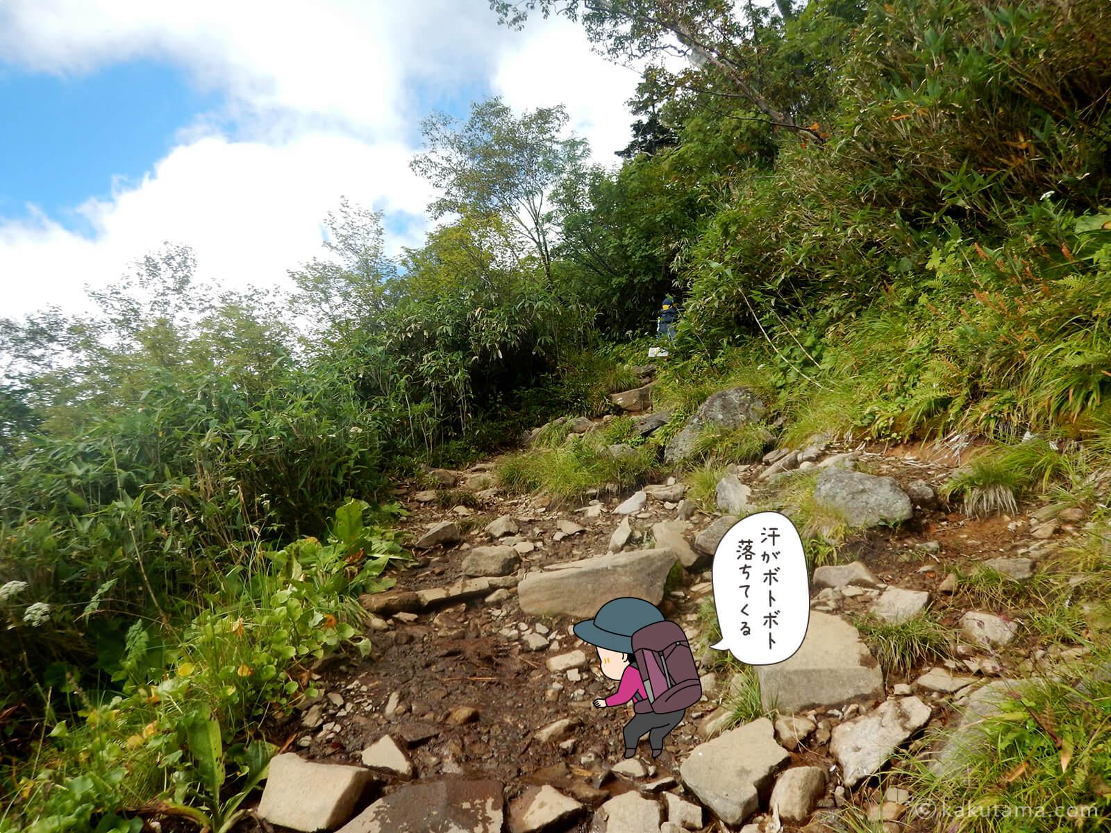 栂池自然公園から登山道の登り7