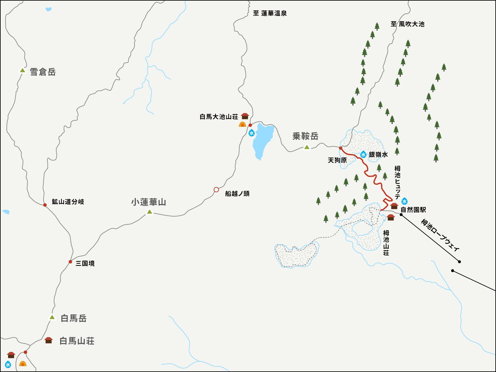 栂池自然公園から天狗原までのイラストマップ