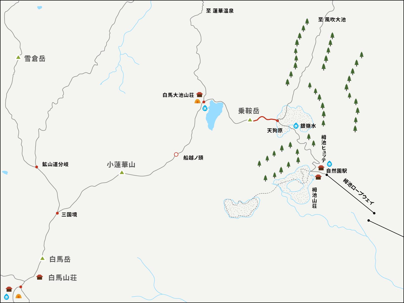 天狗原から白馬乗鞍岳までのイラストマップ