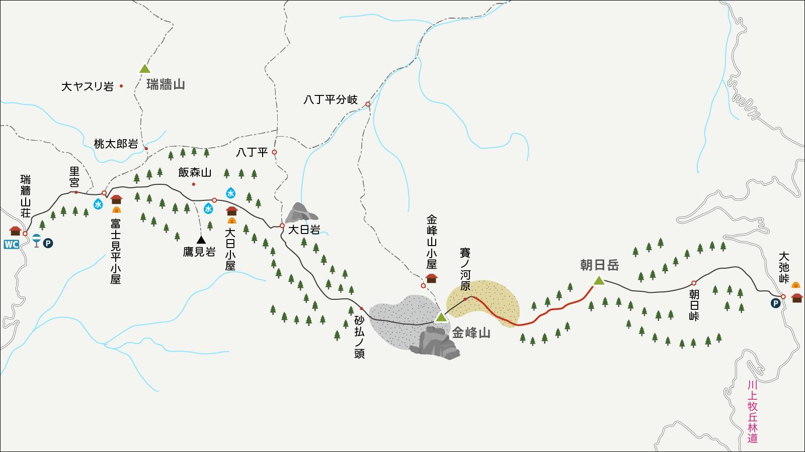 金峰山から朝日岳へのイラストマップ