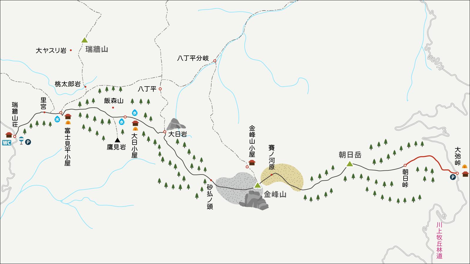 朝日峠から大弛峠へのイラストマップ