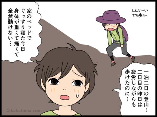 下山後に筋肉痛とむくみで動きづらい登山者の漫画2