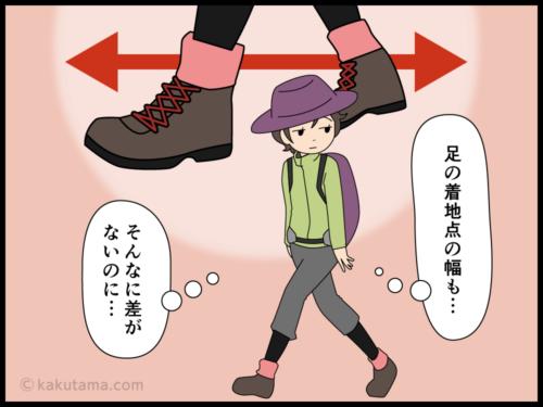 登るのが早い登山仲間と自分の差がわからない登山者の漫画3