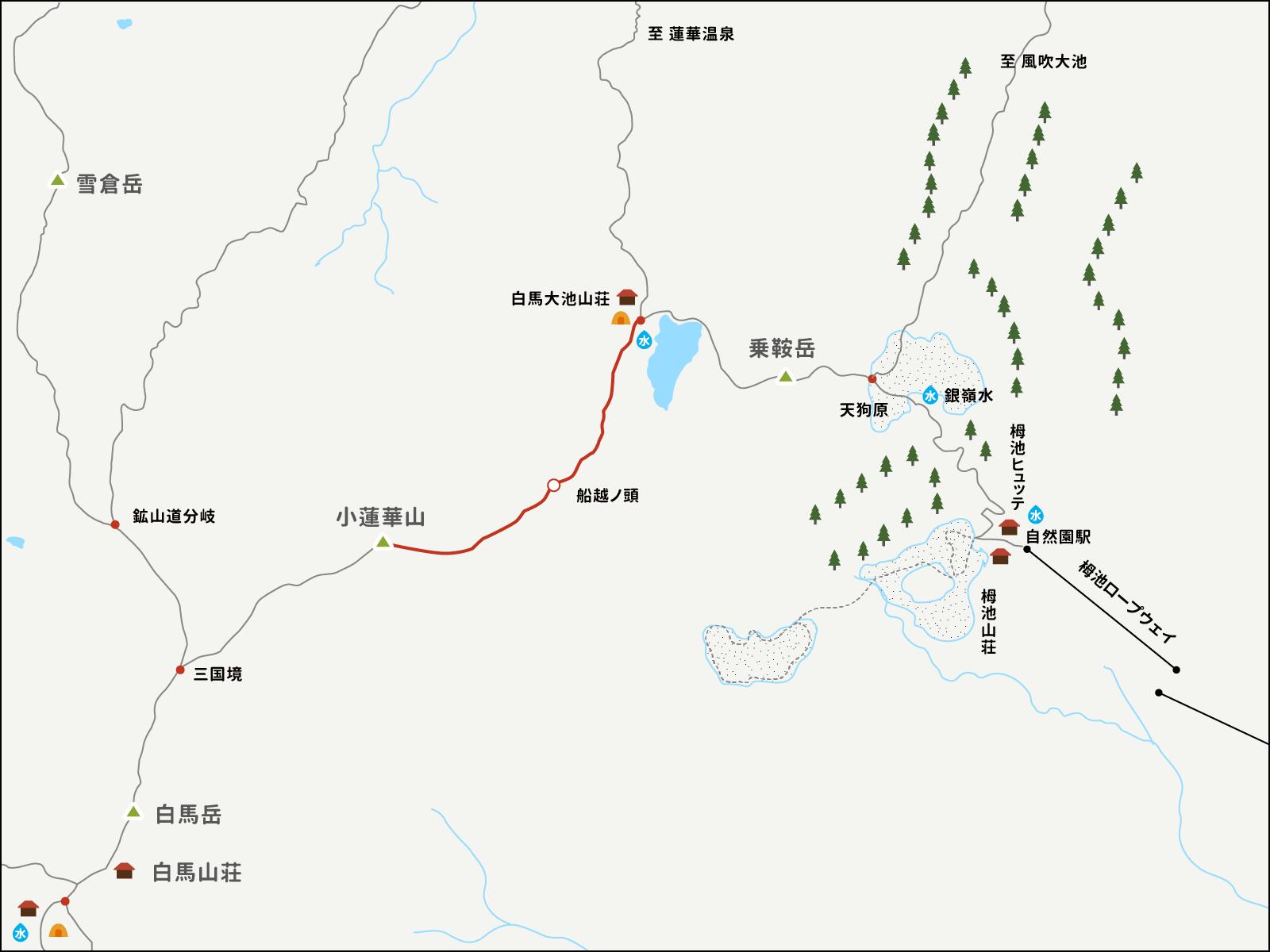 小蓮華山から白馬大池山荘までのイラストマップ