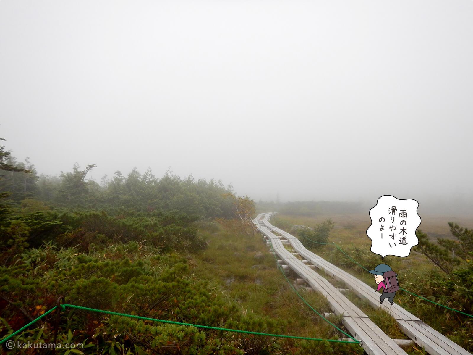 天狗原の木道は雨の日は転びやすい