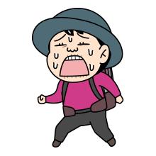泣きそうな登山者のイラスト
