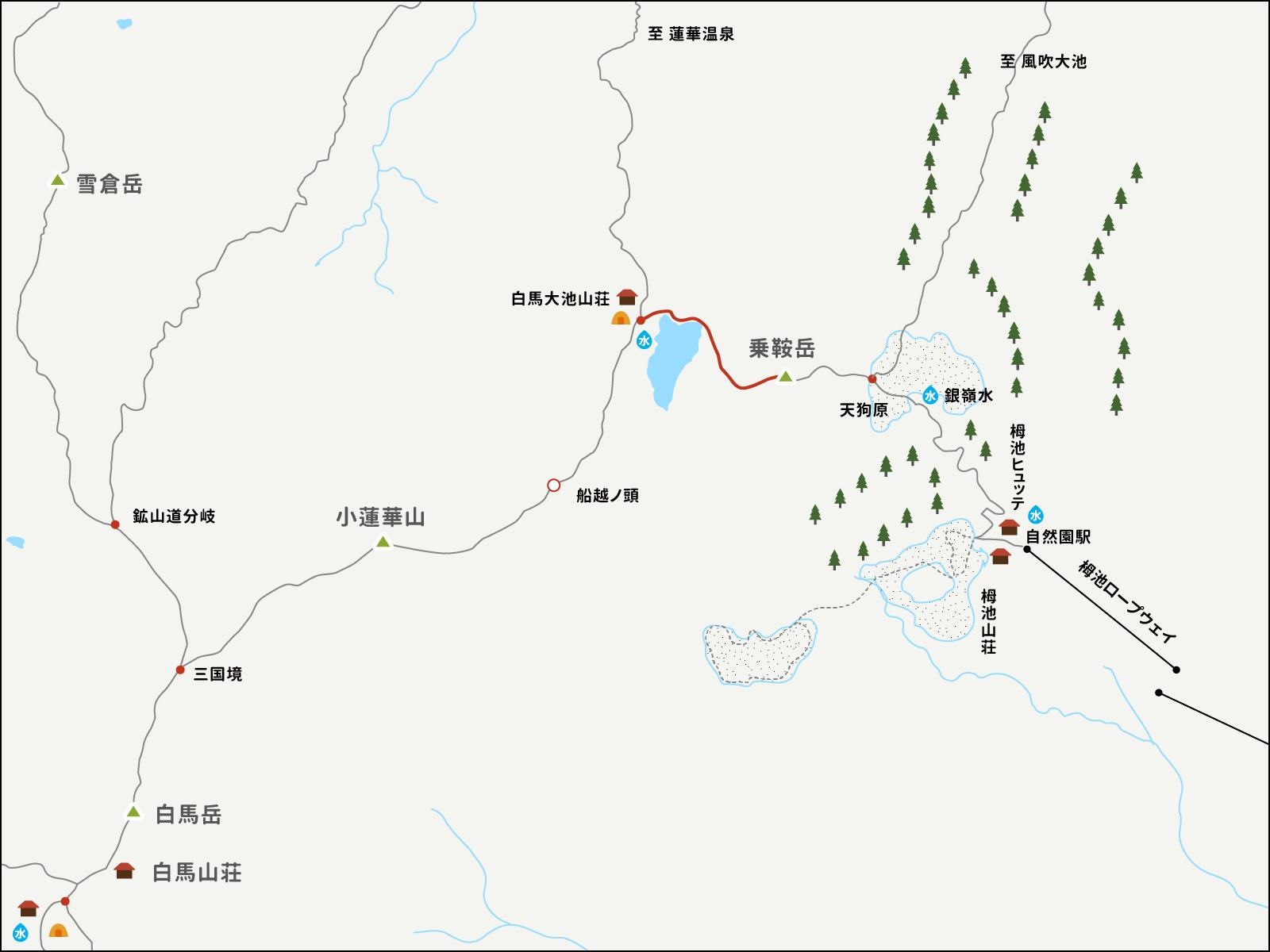 白馬乗鞍岳から白馬大池山荘までのイラストマップ