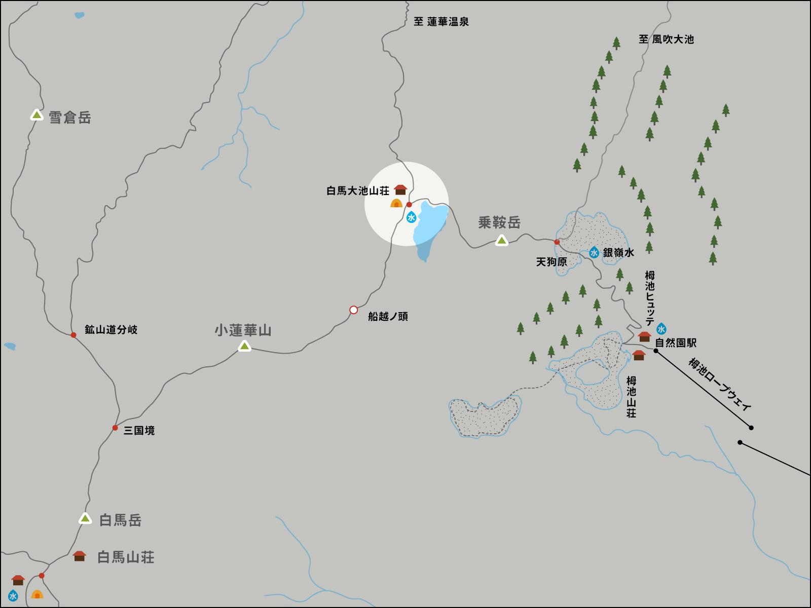 白馬大池山荘のイラストマップ