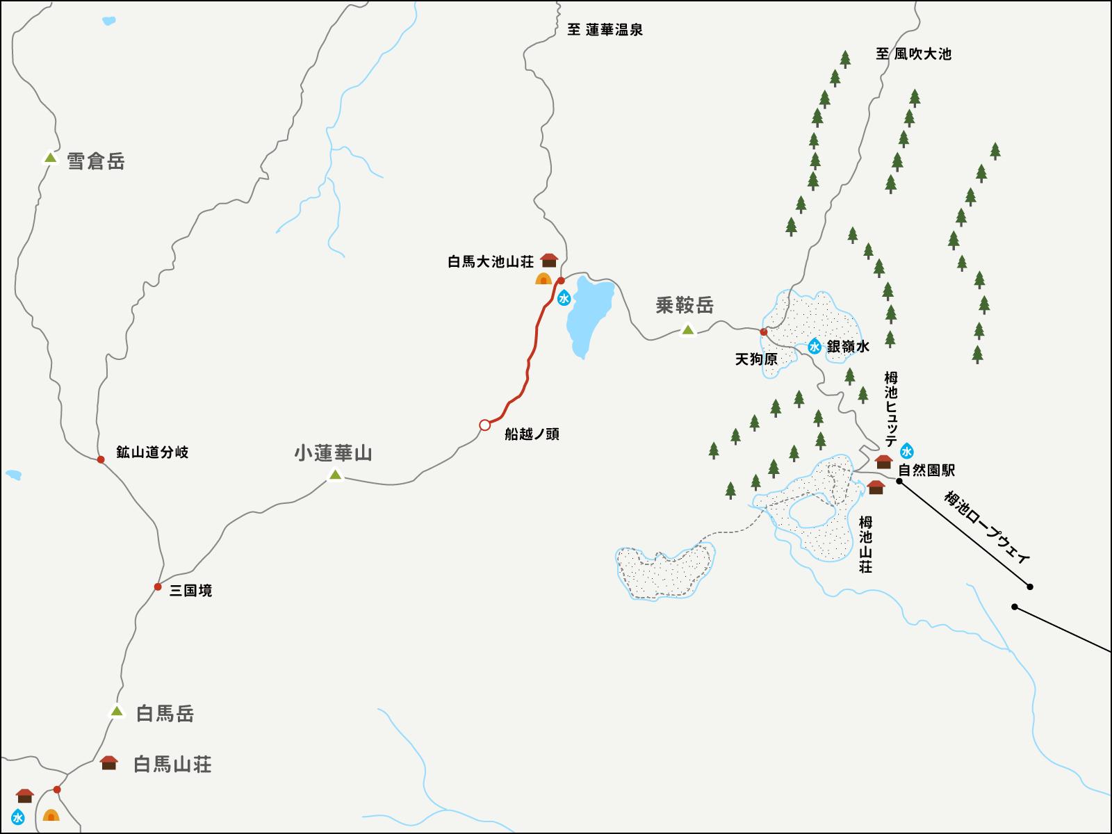 白馬大池から船越ノ頭までのイラストマップ
