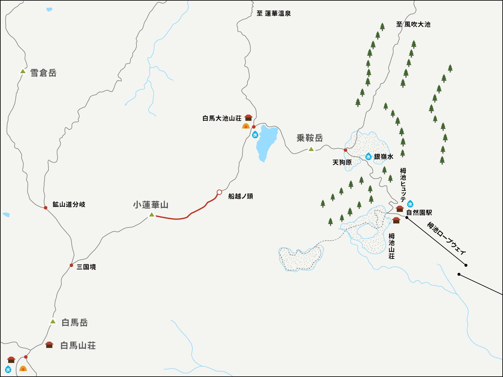 船越ノ頭から小蓮華山までのイラストマップ