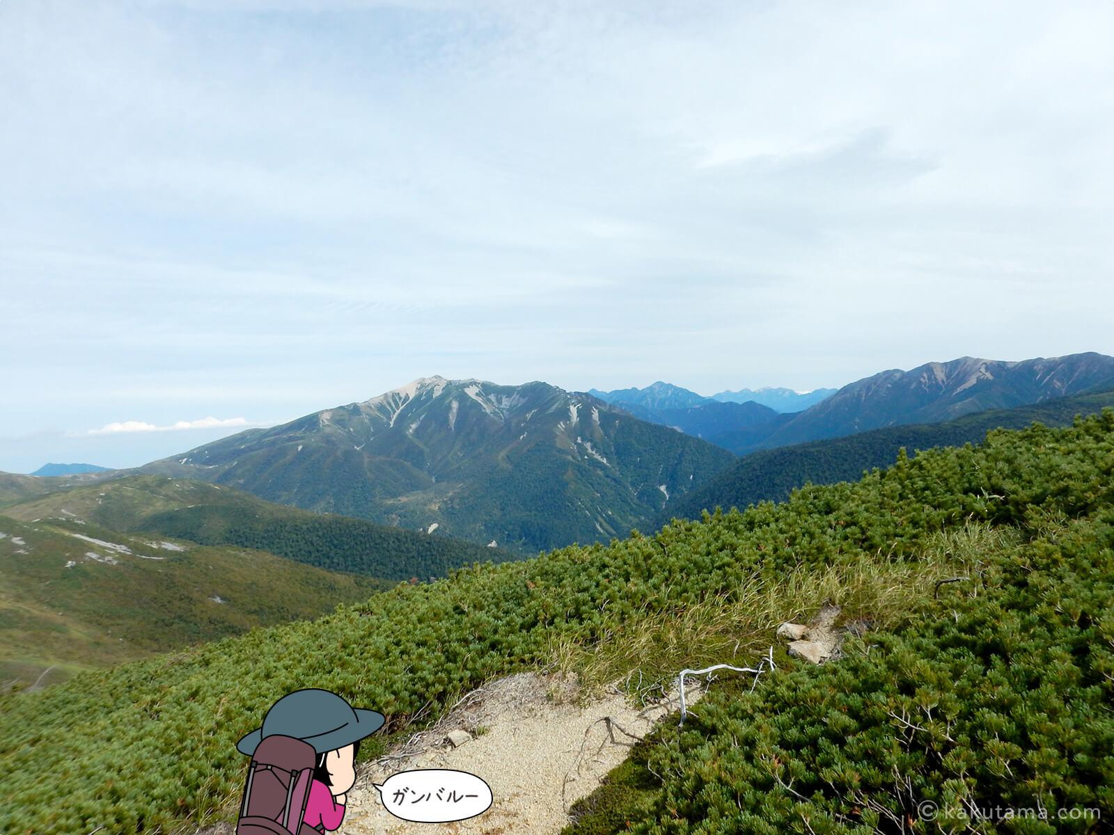 黒部五郎岳の登山道から風景を見る