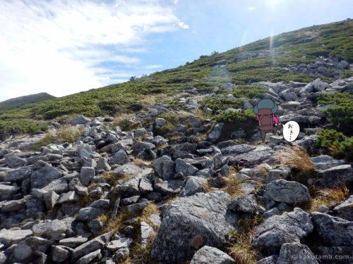 ゴーロになってきた黒部五郎岳への登山道1