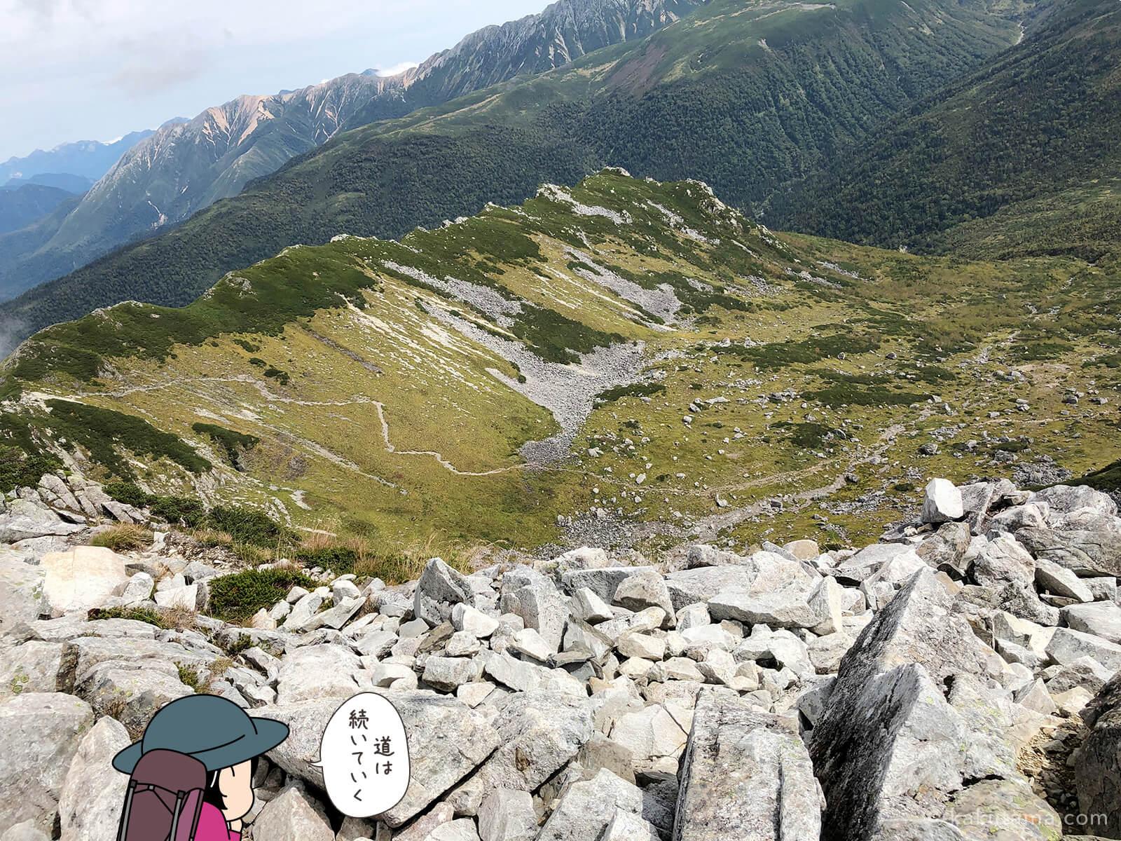 黒部五郎岳山頂から登山道を見下ろす