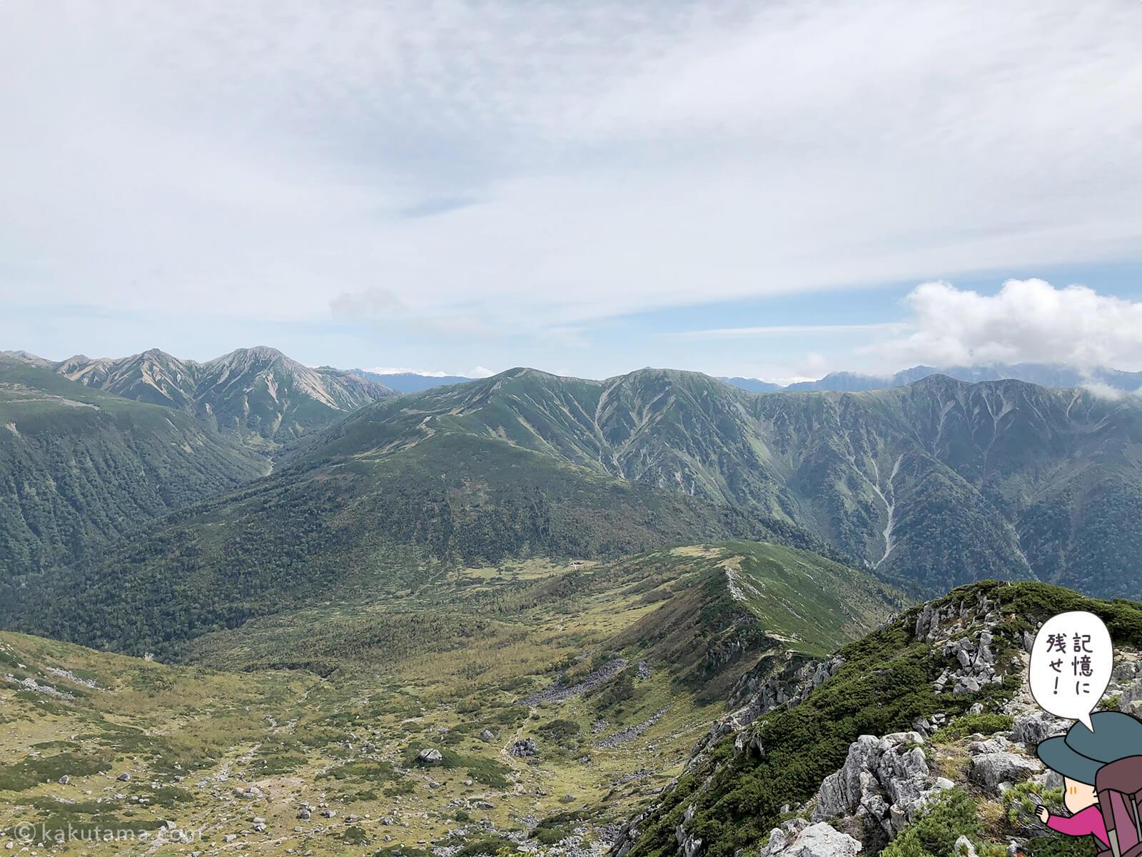 黒部五郎岳山頂から見る北アルプス山々