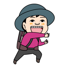 幸せな顔の登山者のイラスト