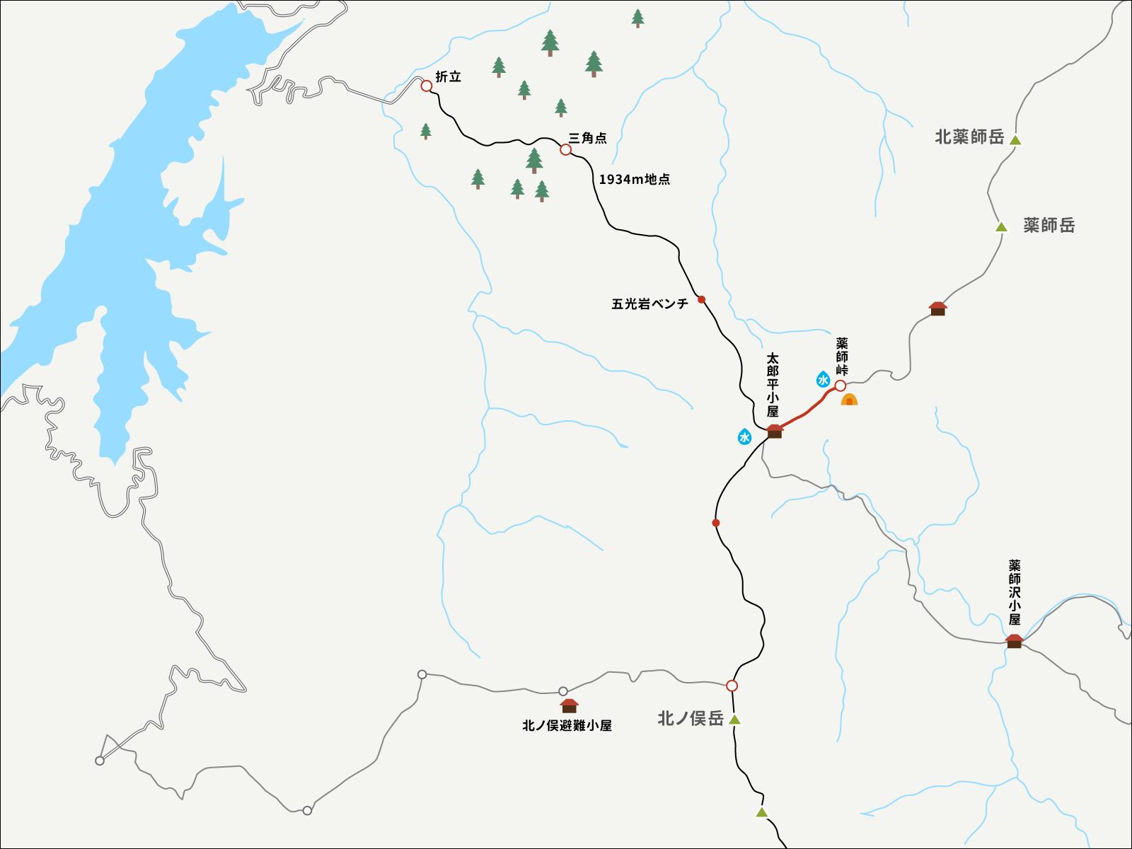 薬師峠キャンプ場から太郎平までのイラストマップ