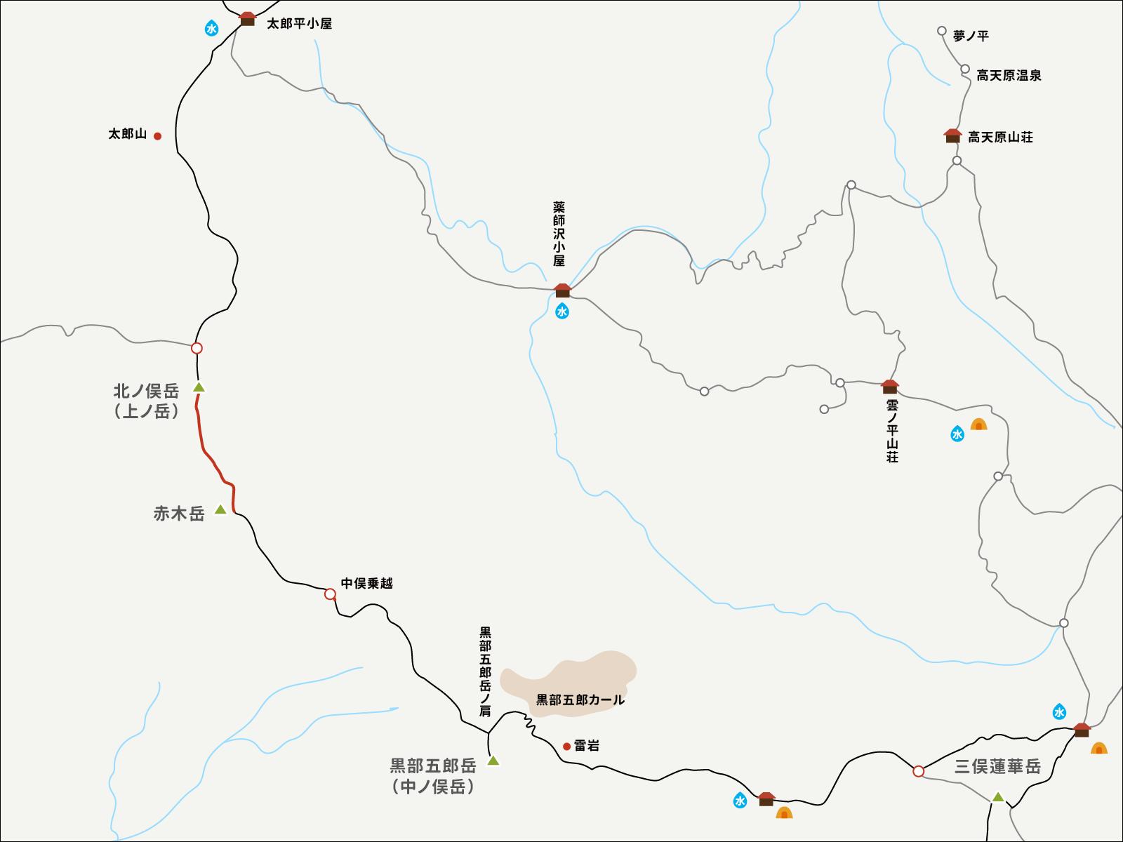 北ノ俣岳から赤木岳までのイラストマップ