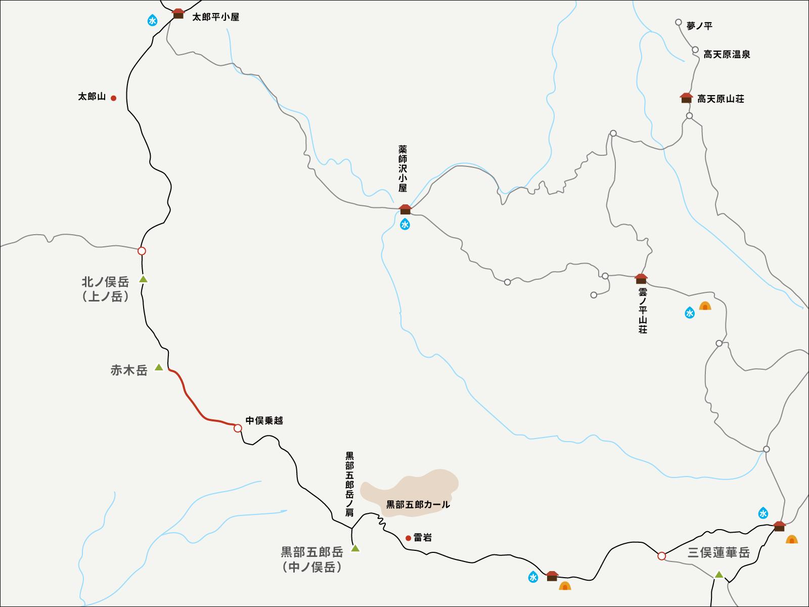 赤木岳から中俣乗越までのイラストマップ