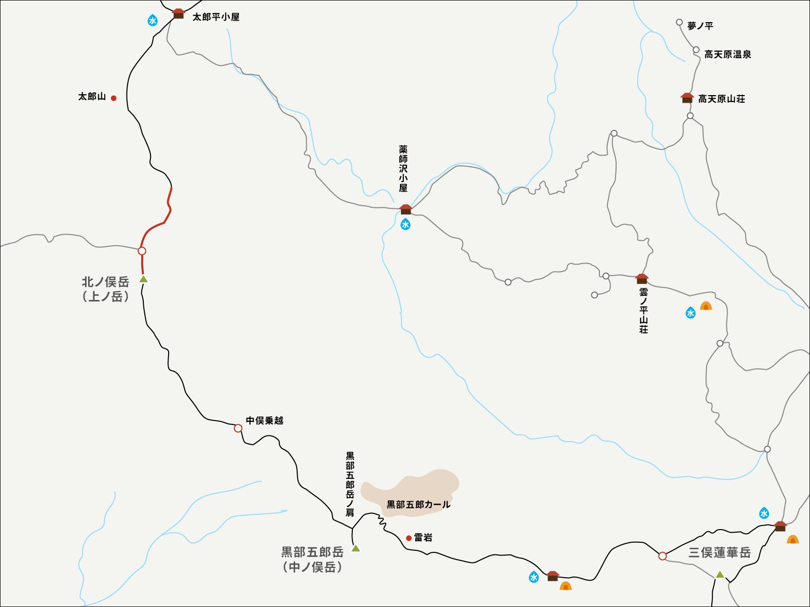 北ノ俣岳までのイラストマップ