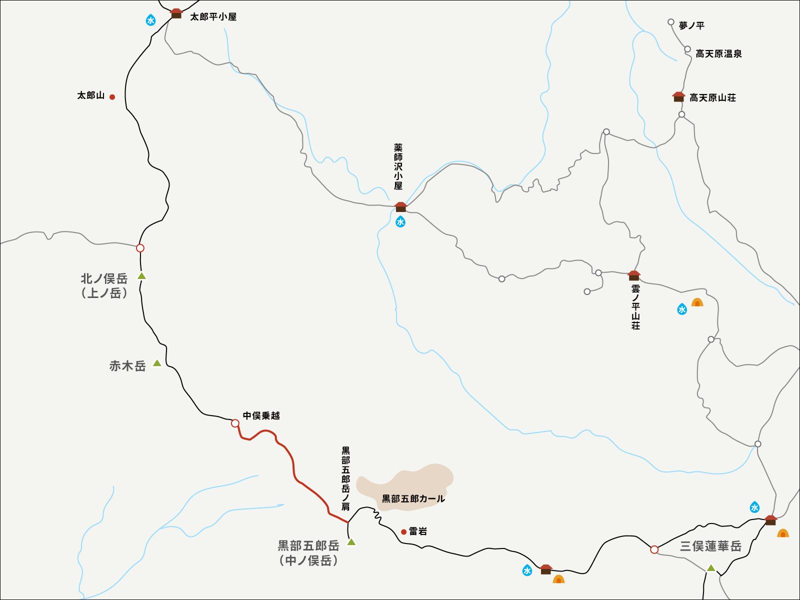 中俣乗越から黒部五郎岳の肩までのイラストマップ